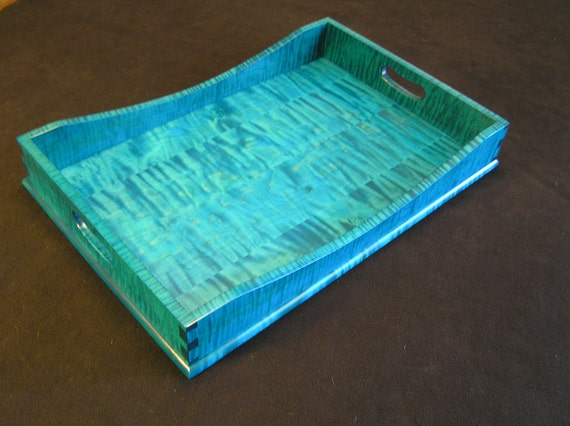 "15"" x 21"" Bright Blue Tiger Maple Serving Tray"