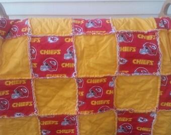 Kansas City Chiefs Rag Quilt, Chiefs bedding, NFL bedding