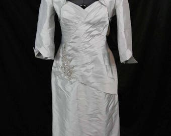 NWT Mother of the bride silver dress with jacket size 12