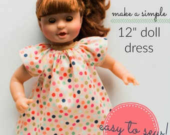12 inch Doll Dress Pattern - 12 inch Doll Clothes Pattern, Waldorf Doll Clothes Pattern, Baby Doll Clothes Pattern