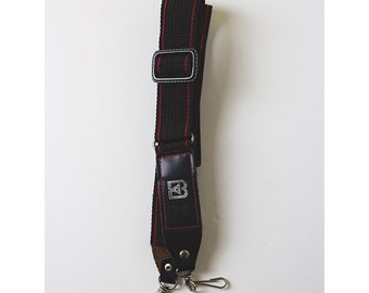 Vintage 1980s Camera Neck Strap Black with red stripes