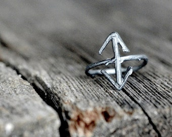 TEIWAZ Rune Ring, sterling silver twigs - Victory, Warrior, Triumphant