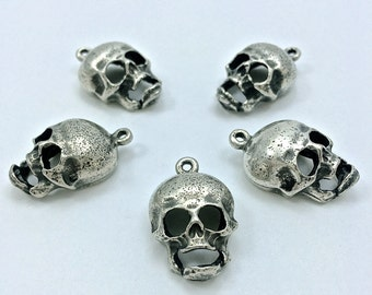 5pc Vintage Skull Charms // Pendant // Heavy Antique // SilverTone // Bracelet // 18mm // Heavy-Antique // Made in The USA by WInky&Dutch