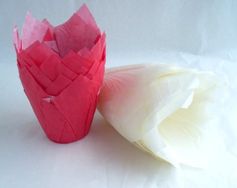 Valentines Tulip Muffin Cases Red White 25 each