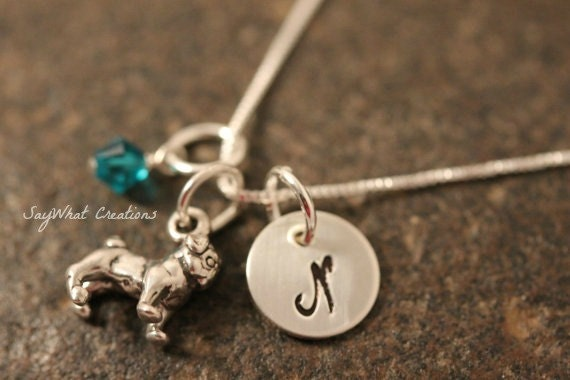 Sterling Silver Pug Charm Necklace With Mini Hand Stamped Initial