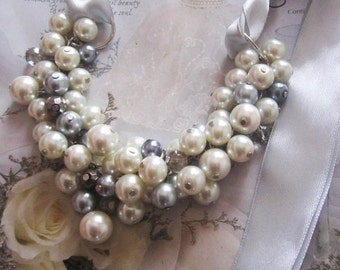 Ivory and Gray Wedding Ribbon Necklace Pearl and Crystal Bridesmaid Necklace Chunky Pearl Necklace Cluster Necklace Silver Ribbon Necklace
