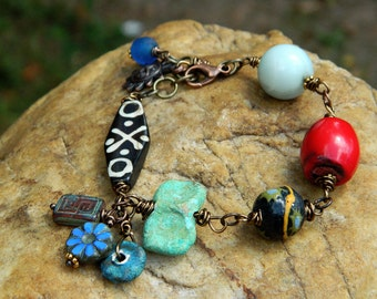Rustic Boho Charm Bracelet