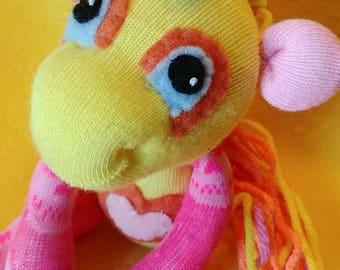 "Ailsa - 10"" Sock Unicorn Plush - Handmade Plush Doll"