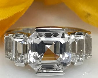 Asscher Cut White Sapphire Engagement Ring With Emerald Cut  Accents In 14k White Gold  #5233