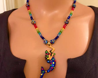Raven haired mermaid necklace pendant Royal blue rainbow 19&1/2 inches Swarovski crystals