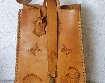 Vintage Handbag, Boho Chic, Tooled Leather Handbag with Peacocks and Butterflies