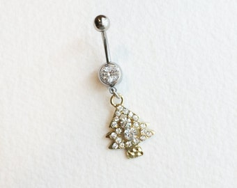 christmas jewelry,SALE, christmas, Belly button ring,stocking stuffer,christmas tree,bellybutton ring, rhinestone,belly ring