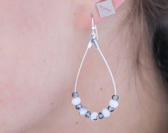 Green and White Hoop Dangle Earrings Silver