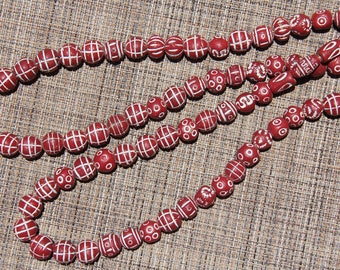 "Red and White Mali Clay Beads 28"" Strand - CLAY 008"