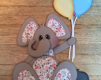 Elephant holding balloons paper piecing scrapbook embellishment