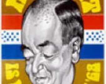 Hubert Humphrey Vintage Democratic Caricature Campaign Poster