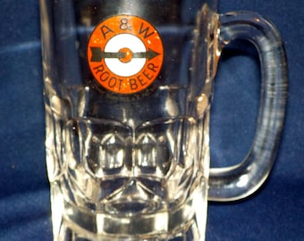 A & W Root Beer Mug, A and W, Drive-In, 1948-1960 Logo, 12 Oz, Clear Glass