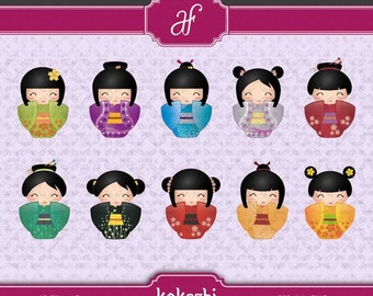 Kokeshi - Instant Download + Printable Japanesse Doll Clipart