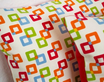 Decorative Pillow, Geometric Pillow Cover, Colorful Pillowcases, 12x16 Pillow Cover, Red Lumbar Pillow, Colorful Cushion, Cotton,Womens Gift