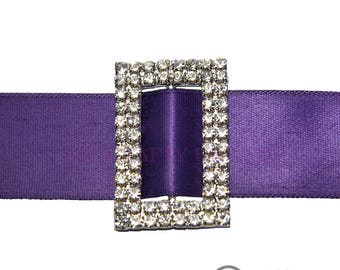 25mm Diamante Oblong Ribbon Buckle - Wedding Anniversary Decoration Cake