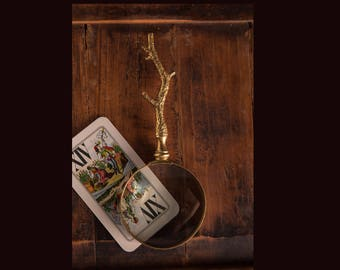 Gold Leafed Twig Handled Magnifying Glass