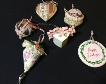 Shabby Chic Victorian Romantic Holiday Ornament Handcrafted Assortment of Six