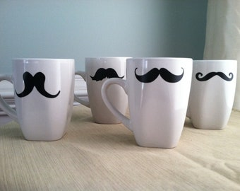 5 Fun Mustache Coffee Mug Set of Five (5)  (You pick the mustaches)