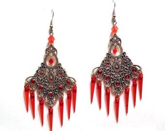 Red Spike Chandelier Earrings