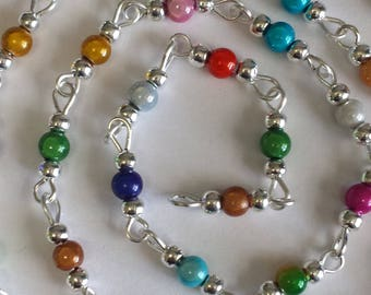 55cm of chain/beads 4mm multicolored acrylic magic