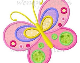 Butterfly applique machine embroidery design digital pattern
