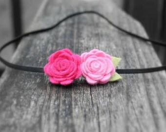 Pink Felt Flowers Baby Headband, Baby Flower Headband, newborn headband, infant, toddler, tween, teen, adult, Newborn Photo Prop