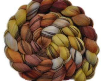 Hand dyed roving - 21.5μ Merino wool combed top spinning fiber - 4.1 ounces - Consecrated Ground 2