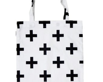 Eco bag / natural bag / shopping bag / cotton bag / tote bag geometric pluses/crossess