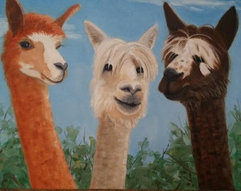 Three Whimsical Alpacas Oil Painting South America Farm Animal Art Kids Decor Kitchen Art 12 X 16 Inch Canvas