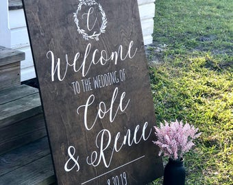 Rustic Welcome Sign - Wedding Welcome Sign - Rustic Wood Wedding Sign - Wood Wedding Welcome Sign - Welcome Wedding - Wedding Signs Wood