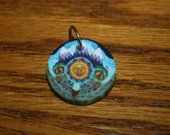 Sun and Purple Mountains Polymer Clay Pendant