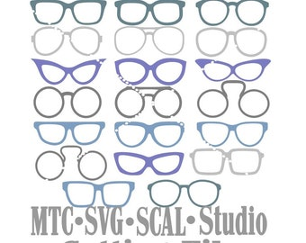 SVG Cut File Glasses Bundle of 20 Photo Booth PropsMTC Cricut SCAL Silhouette Cutting Files