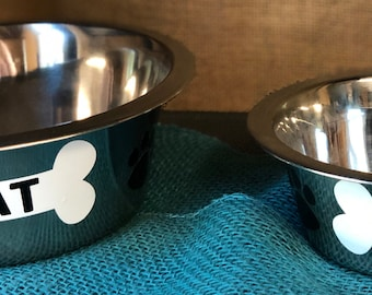 Eat/Drink Personalized Pet Bowls - Stainless Steel