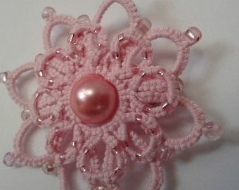 Pink beaded tatted lace flower pin brooch