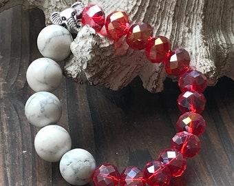 Alabama Crimson Tide, Alabama Bracelet, Crimson Bracelet, Roll Tide, Elephant, Red and White Bracelet, Gift for Her, Alabama Alumni, Boho,