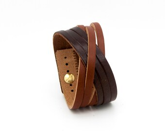 Brown cuff, tan leather cuff, leather cuff bracelet  - the Orleans