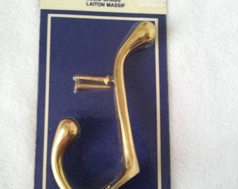 Vintage Solid Brass Hook in Package