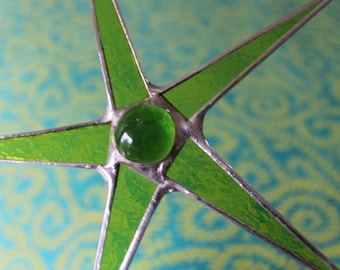 Lime Green Wishing Star-- 6 inch stained glass star