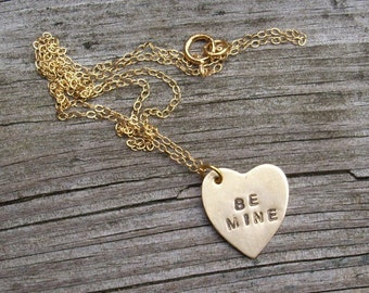 Be Mine Valentine Heart Necklace in Gold filled