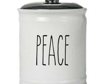 Peace Word Jar With Lid - Money Coin Jar - Money Bank - Money Jar - Money Jar With Lid