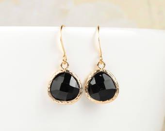 Black Gold Earrings, Black Gold Dangle Earrings, Black Drop Earrings, Bridesmaid Jewelry, Black Wedding Accessories