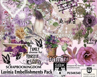 LAVINIA Embellishment pack contains 42 embies flowers lace stitches foliage feather & frames - a matching Paper pack also available in store