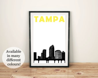 Tampa Print // Florida Art // Tampa Skyline // Tampa Florida // Tampa Art // Tampa Poster // Florida Poster // Florida Print // Mens Gift