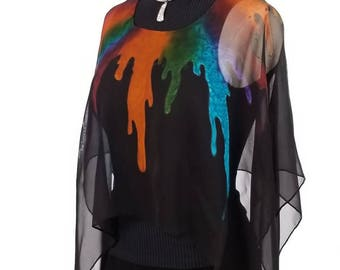 Bucket O' Paint, Hand Painted Silk Poncho