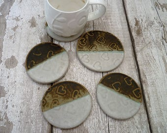 SALE- Ceramic coasters and teapot stand, handmade bespoke pottery, home decor,